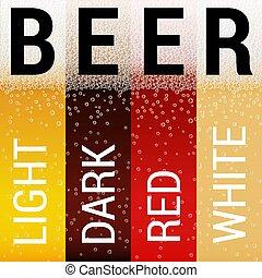 conjunto, cerveza, patrones
