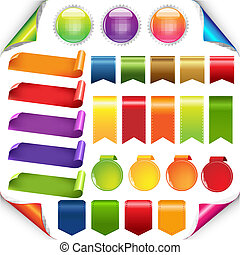 conjunto, cintas, colorido, etiqueta