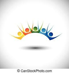 conjunto, colorido, gente, y, excitado, diversión, el gozar, teniendo, feliz