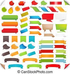 conjunto, colorido, grande, etiquetas, burbuja del discurso