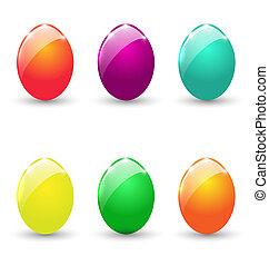 conjunto, colorido, huevos, aislado, plano de fondo, blanco, pascua