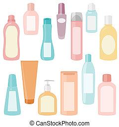 conjunto, cosméticos, contenedores