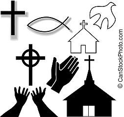 conjunto, cristiano, iconos, símbolo, otro, iglesia