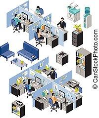 conjunto, cubículo, lugaresde trabajo, oficina