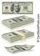 conjunto, dólar, billetes de banco
