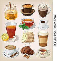 conjunto de café, drinks:, caliente, delicioso