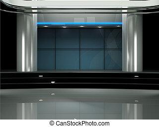 conjunto de la tv, estudio, virtual, 3d