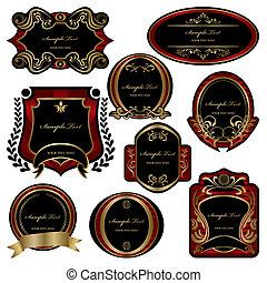 conjunto, decoración, resumen, etiquetas