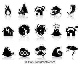 conjunto, desastre natural, iconos