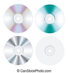conjunto, disco, aislado, dvd, cd