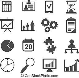 conjunto, empresa / negocio, mercadotecnia, vector, analista, icono