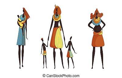conjunto, esbelto, africano, bebé, vector, llevando, ropa, mujer, collar, tribal, proceso de llevar, tradicional