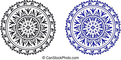 conjunto, estilo, florido, círculos, étnico, resumen, clásico