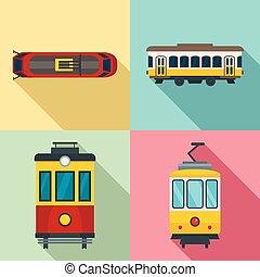 conjunto, estilo, tranvía, plano, icono