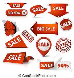 conjunto, etiquetas, etiquetas, venta, esquinas, boletos, sellos, pegatinas