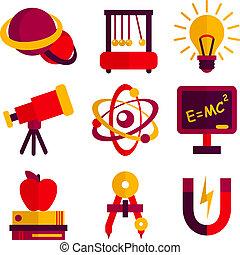 conjunto, física, astronomía, iconos