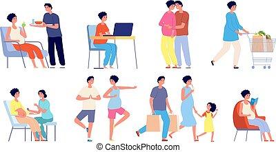 conjunto, feliz, embarazo, bebé, rutina, esposa, yoga, marido, pareja., embarazada, gimnasia, diario, esperar, vector, extensión, relajante, abrazar, poses.