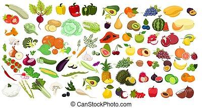 conjunto, fruits, vector, aislado, blanco, fondo., grande, graphics., vegetales