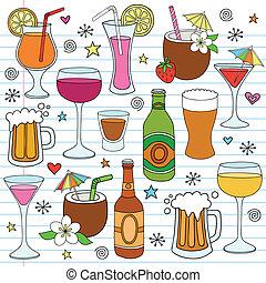 conjunto, garabato, cerveza, vector, vino, bebidas