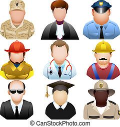 conjunto, gente, icono, uniforme