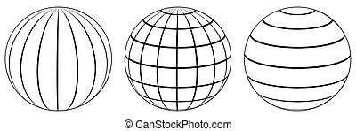 conjunto, globo, longitud, esferas, cuadrícula, latitud, tierra