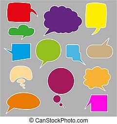 conjunto, globos, charla, charla, dibujo, burbuja, bubbles., fondo., aislado, vector, discusión, colorido, blanco, burbujas, pensamiento, sketched, o, conjunto, elementos, etiqueta, discurso, garabato, burbujas
