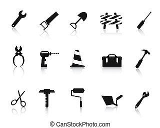 conjunto, herramienta, mano, construcción, negro, icono