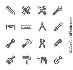 conjunto, herramientas, icono