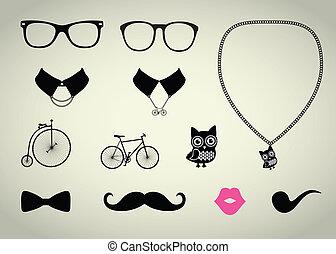 conjunto, hipster, accesorio