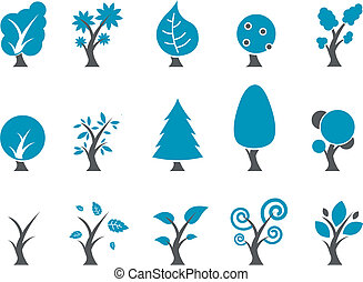 conjunto, icono, árboles