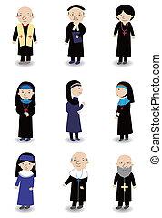 conjunto, icono, caricatura, sacerdote, monja