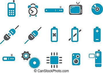conjunto, icono, electrónico