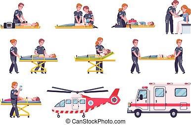 conjunto, icono, paramédicos, caricatura