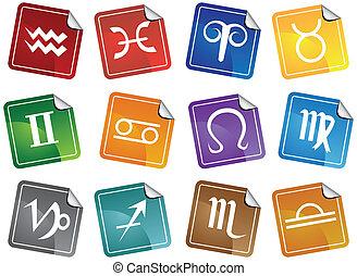 conjunto, icono, pegatina, astrología