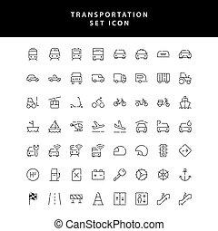 conjunto, icono, transporte, contorno