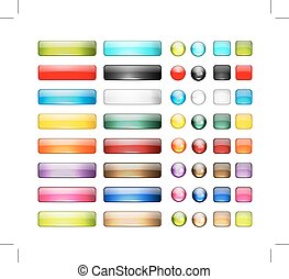 conjunto, iconos, botón, diseño, brillante, su