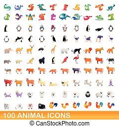 conjunto, iconos, caricatura, estilo, animal, 100
