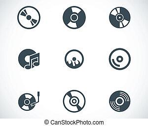 conjunto, iconos, cd, vector, negro, disco