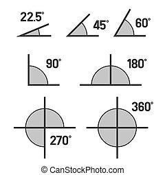 conjunto, iconos, fondo., vector, ángulos, blanco
