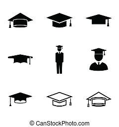 conjunto, iconos, gorra, académico, vector, negro