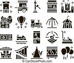 conjunto, iconos, parque, diversión, atracción, vector