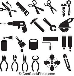 conjunto, iconos, trabajo, -, vector, herramientas