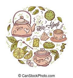 conjunto, illustration., hand-drawn., blanco, vector, ceremonia, té, fondo.