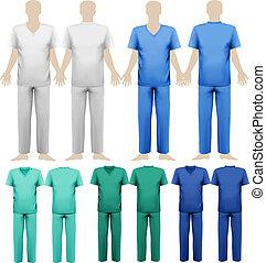 conjunto, illustration., médico, overalls., vector, diseño, template.