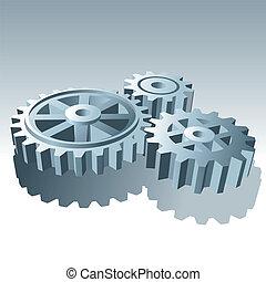 conjunto, illustration., metal, vector, gears., operación