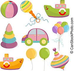 conjunto, ilustración, juguetes