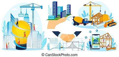 conjunto, ilustración, trabajador, proyecto, plano, casa, diseño, construya, edificio, gente, moderno, vector, construir, construcción, caricatura, constructor, diminuto
