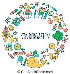 conjunto, imágenes, vector, jardín de la infancia