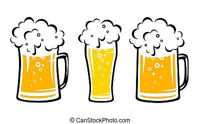 conjunto, jarro de cerveza, burbujas, amarillo