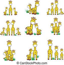 conjunto, jirafa, caricatura, 01